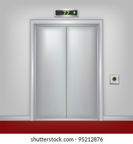 Vector 3d elevator with closed doors. Part of set.