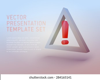 vector 3d empty template caution sign
