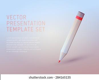 vector 3d empty template pencil icon