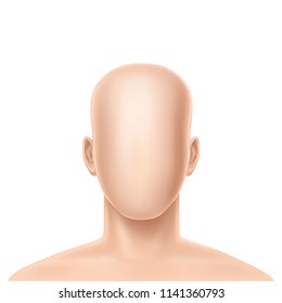 Vector 3d faceless human model, blank dummy, part of male or female body isolated on background. Mockup with man or woman head without face to create own avatar or profile with unique appearance