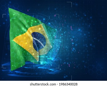 vector 3d flag on blue background with hud interfaces,  Brazil