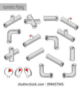 Vector 3d flat isometric illustration collection of detailed Construction Pieces: pipes, fittings, gate valve, faucet, ells.