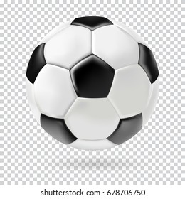 Vector 3d football isolated ball on transparent background. Realistic style.
