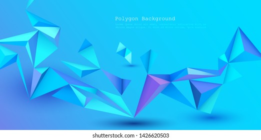 Vector 3D Geometric, Polygon, Line, Triangle pattern shape for wallpaper or background. Illustration low poly, polygonal design with blue color. Abstract science, futuristic, web, network concept