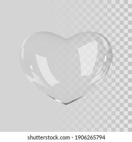 Vector 3d glass heart. Realistic glossy 3d heart.