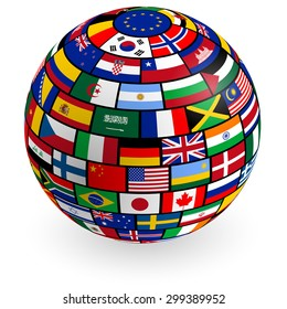 A vector 3D globe composed by the flags of the most important countries.