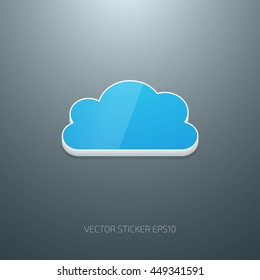 Vector 3d glossy plastic cloud icon