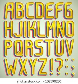 Vector 3d gold font ABC a-z