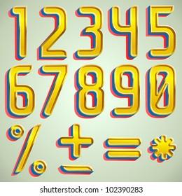 Vector 3d gold font numbers digits