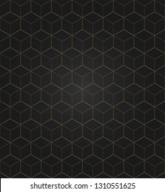 Vector 3D Gold Geometric Square Black Background seamless pattern. Modern stylish texture. Repeating tiles