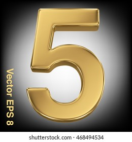 Vector 3d golden number collection - 5. Eps 8 using mesh.