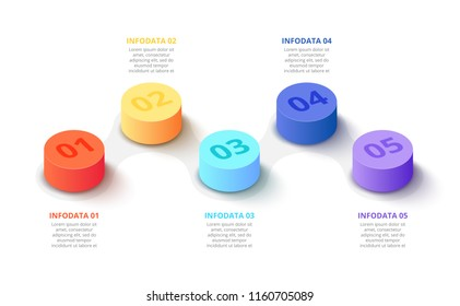 Vector 3d gradient cylinders. Business template for presentation. Creative concept for isometric infographic with 5 steps, options, parts or processes.