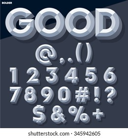 Vector 3D grey set of simple bold beveled numbers and symbols with shadow. Simple colored version.
