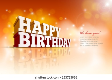 Vector 3d Happy Birthday message text. Elements are layered separately in vector file.