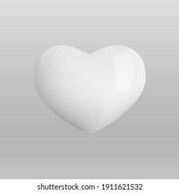 Vector 3d heart. Realistic glossy 3d heart.