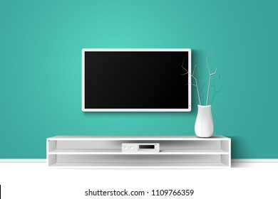 Vector 3d illustration of 4k LED TV on a wall with wooden table. House living room modern interior design. Copy space template.