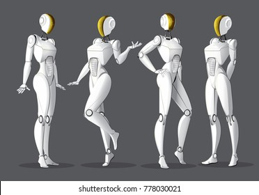 Vector 3d illustration of the concept robot design, model robot posture, humanoid robot,service staff of the future