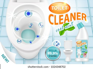 Vector 3d illustration of cool mint toilet cleaner killing bacteria. Plastic bottle with detergent design. New liquid cleaning product brand advertising poster.