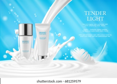 Vector 3D illustration, cream, lotion, cosmetic milk for face and hands in glass bottle and a white tube on a soft blue background with a milk splash and a white feather. Promotion of premium product