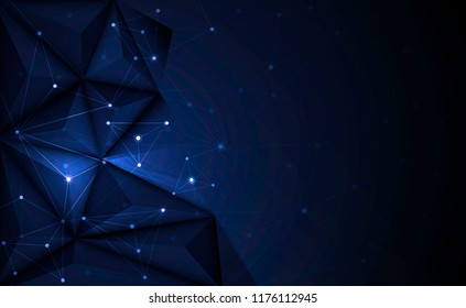 Vector 3D Illustration Geometric, Polygon, Line,Triangle pattern shape with molecule structure. Polygonal with dark blue background. Abstract science, futuristic, network connection concept