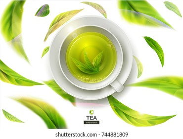 Vector 3d illustration with green tea leaves in motion on a white background and  ceramic mug with saucer with green tea. Element for design, advertising, packaging of tea products