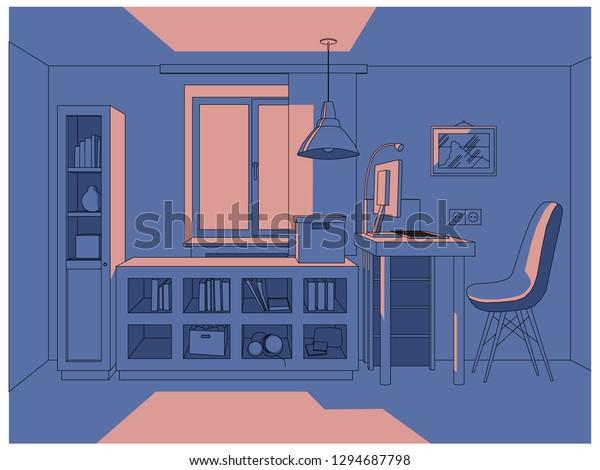 Vector 3d Illustration Living Room Simple Stock Vector Royalty