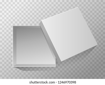 Vector 3d Illustration of opened empty gift box for design, presentation, packing etc isolated on transparent background. Top view. Grey mockup.