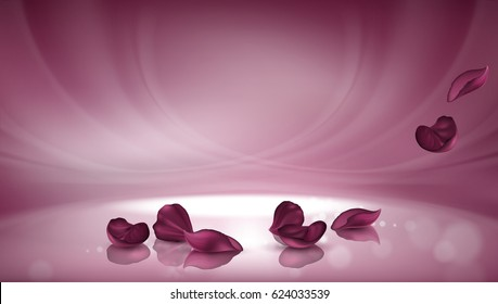Vector 3D illustration pink background with burgundy rose petals and bokeh