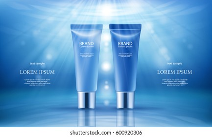 Vector 3D illustration poster with moisturizing cosmetic premium products, blue background with beautiful tubes and beams of light