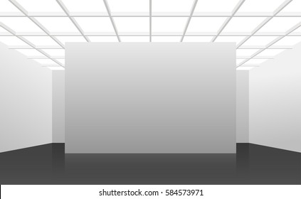 Vector 3d illustration. White interior of not existing building with black floor and square cellular ceiling and top light in perspective. Symmetrical view. Place for text.