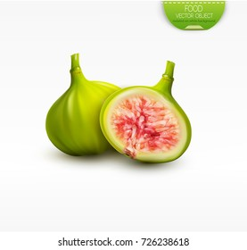 Vector 3d illustration with whole green figs and half a fruit, isolated on white background. Element for design, advertising, packaging of tea products
