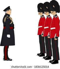 Vector 3d image of Royal Guards and their commander.