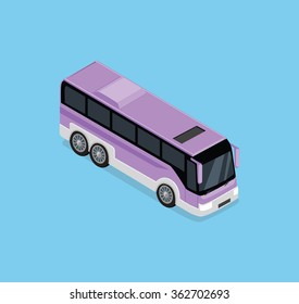 Vector 3D isometric bus. Public transportation in front top view