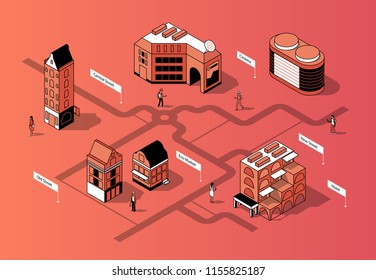 Vector 3d isometric city center. Square with eco market, cinema and houses. District with sidewalk and people between buildings in orange colors. Urban concept, scheme or map of town.