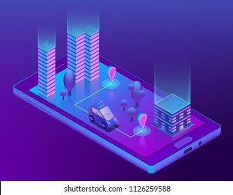 Vector 3d isometric concept with smart taxi for smartphone, app for device. Wireless navigation for driving car, travel in city, urban. Smartcar with radar in ultra violet colors