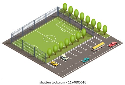 Vector 3d isometric field for football games, parking places for cars and road with vehicles. Green field for sport near asphalt way, urban map, city concept. Isometry isolated on white background.