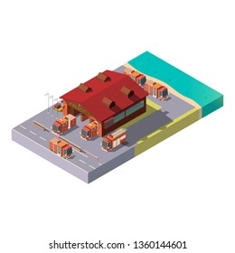 Vector 3d isometric fire station with red trucks on river bank and green territory. Municipal service, an emergency department with garage, firehouse. Road with traffic nearby.