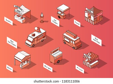Vector 3d isometric food courts and trucks. Shops with sushi, beer, pizza. Mobile markets with canopy made in orange colors and thin black lines. Urban concept, elements for map of town, marketplace.