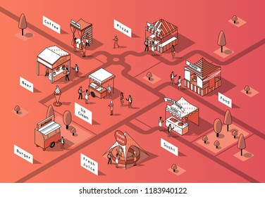 Vector 3d isometric food courts, fair with people. Shops with sushi, pizza and other food in park, tree. Markets with canopy. Urban concept. Marketplace made in orange colors, black thin lines.