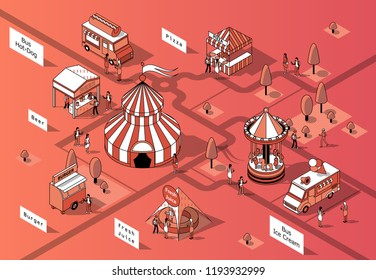 Vector 3d isometric food festival, courts and trucks. Circus in middle of square with shops. Mobile markets with canopy made in black thin lines. Urban concept, elements for map of town, marketplace.
