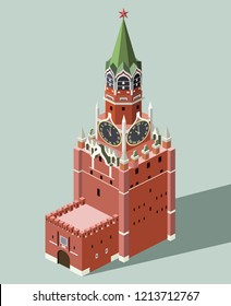 vector 3d isometric icon of Spasskaya Tower of Moscow Kremlin with flat style colored background and shadow