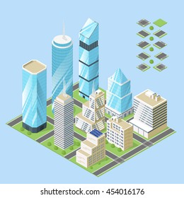 Vector 3d isometric illustration of city buildings.