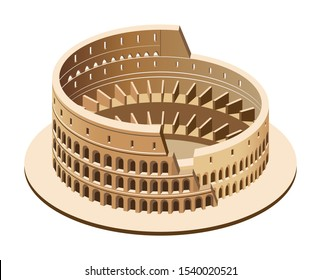 Vector 3d isometric illustration of Colosseum (Coliseum) in Rome, Italy