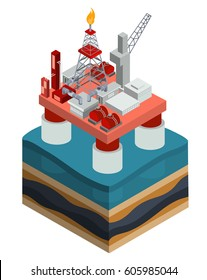 Vector 3D isometric illustration, an infographic element, an oil producing offshore platform in the ocean