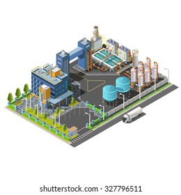 Vector 3d isometric industrial area treatment plant,hydroelectric, water purifying system construction. Isolated vector icon set of buildings, pipes, boilers and water.