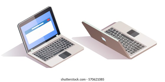 Vector 3d isometric isolated laptop ready to work