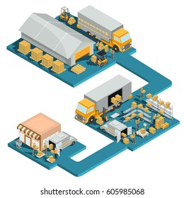 Vector 3D isometric logistic and delivery illustration process of distribution goods from a wholesale warehouse to a retail store