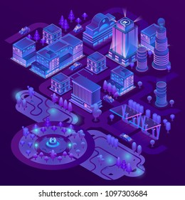 Vector 3d isometric megapolis, city with park in purple colors. Collection of skyscrapers, buildings and charging stations with ultraviolet lighting. Streets with traffic - cars, automobiles