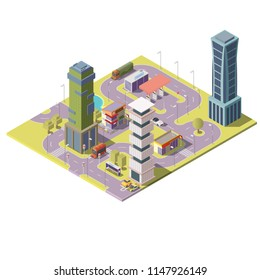 Vector 3d isometric megapolis, city with skyscrapers, parking places and gas station. Collection of houses, buildings with park trees. Streets with traffic - cars, automobiles.