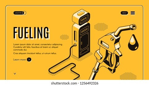 Vector 3d isometric site template with fueling, gas station. Oil pistol with nozzle on hose on yellow background. Drop of ethanol in black line art. Petroleum company landing page, internet portal.